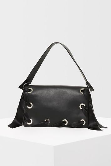 Topshop Premium Leather Grace Ribbon Shoulder Bag