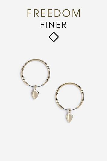 Topshop Freedom Finer Spike Drop Hoop Earrings