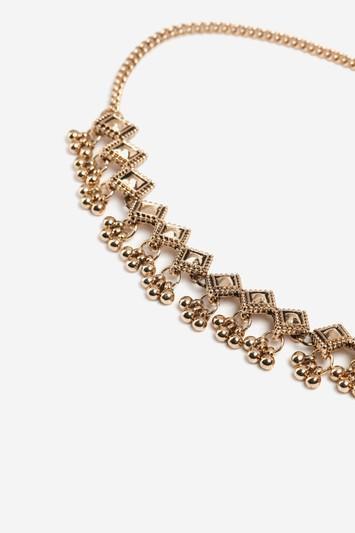 Topshop Diamond And Ball Drop Choker Necklace
