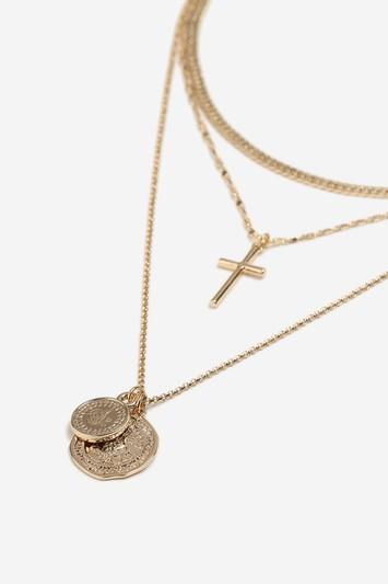 Topshop *coin And Cross Layered Necklace