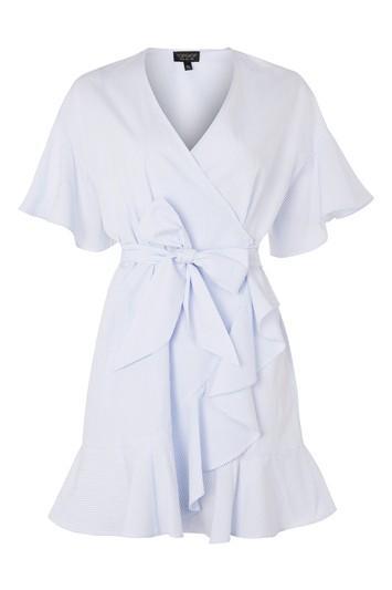 Topshop Stripe Ruffle Wrap Dress
