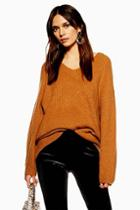 Topshop Super Soft Longline V- Neck Jumper