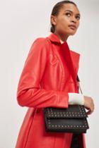 Topshop Black Leather Studded Cross Body Bag