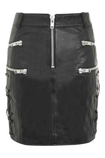 Topshop Lace Side Zip Leather Skirt