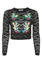 Topshop *floral Embroidered Knitted Top By Glamorous