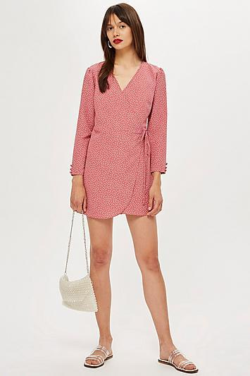Topshop Petite Spot Wrap Mini Dress