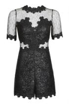 Topshop Coated Lace Playsuit