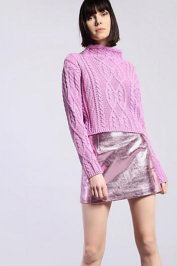 Topshop *cropped Knitted Jumper By Glamorous