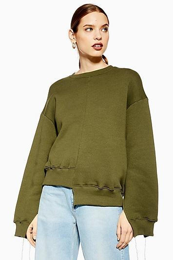 Topshop *cutabout Hem Sweatshirt By Boutique