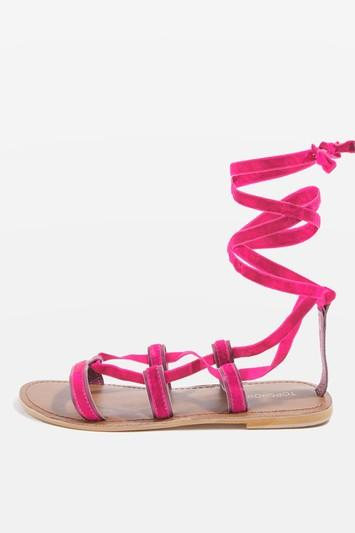 Topshop Hacienda Velvet Ribbon Sandals