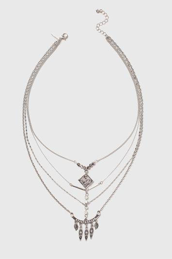 Topshop Druzy Multirow Necklace