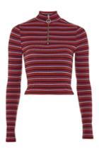 Topshop Petite Striped Zip Funnel Neck Top