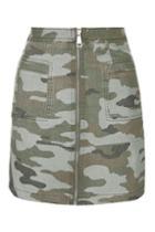 Topshop Camo Zip Skirt