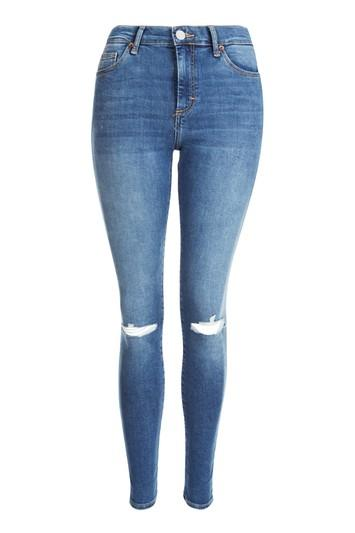 Topshop Moto Blue Ripped Sidney Jeans