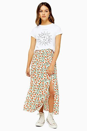 Topshop Petite Cream Double Split Floral Midi Skirt