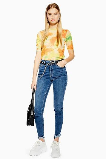 Topshop Tall Mid Blue Rip Hem Jamie Jeans