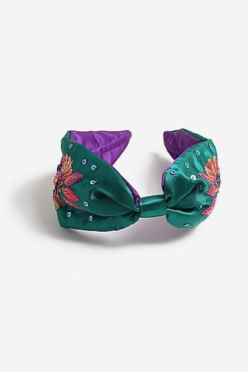 Topshop *embroidered Bead Satin Headband