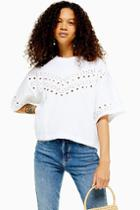 Topshop Petite White Broderie Boxy T-shirt