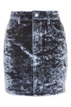 Topshop Moto Bonded Velvet Denim Skirt