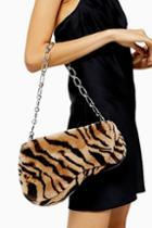 Topshop Faze Tiger Faux Fur Saddle Shoulder Bag