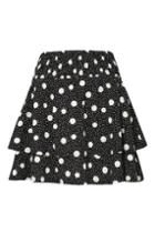 Topshop Shirred Tiered Spotted Skirt