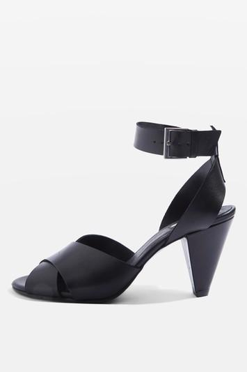Topshop Nazia Leather Cone Heel Sandals
