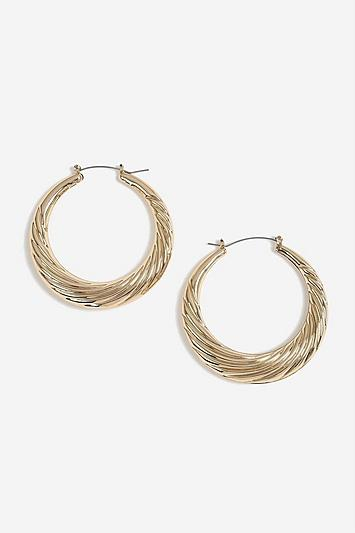 Topshop Textured Oversized Hoops Earrings