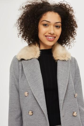 Topshop Petite Nancy Faux Fur Crombie Coat