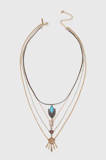 Topshop Ethnic Multirow Necklace