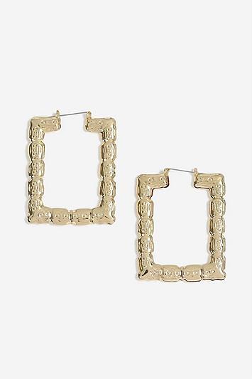 Topshop Rectangle Bamboo Hoop Earrings