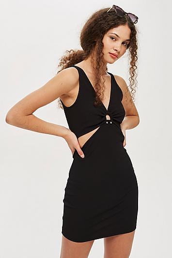 Topshop Ring Plunge Ribbed Bodycon Dress