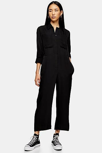*black Utility Jumpsuit By Topshop Boutique