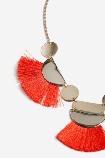Topshop Tassel And Shape Collar Necklace