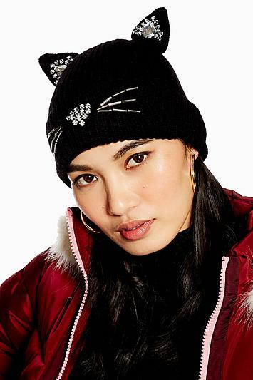 Topshop Cat Embroidered Beanie