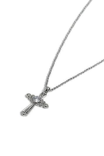 Topshop *crystal Cross Necklace