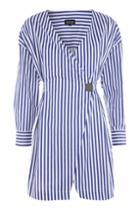 Topshop Stripe Displaced Wrap Dress