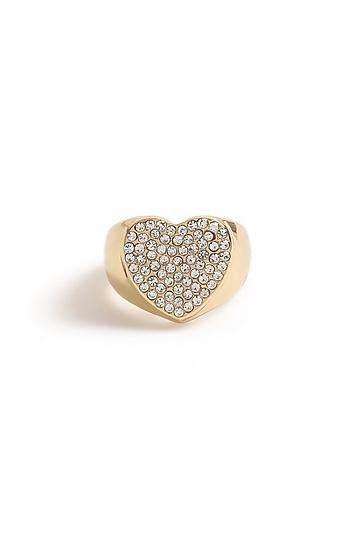 Topshop *pave Heart Signet Ring