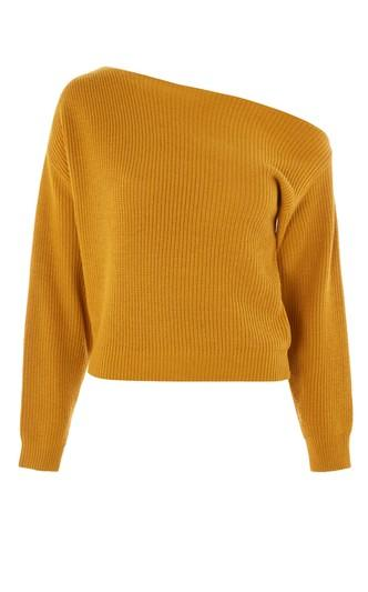 Topshop Cashmere Off Shoulder Cropped Sweater