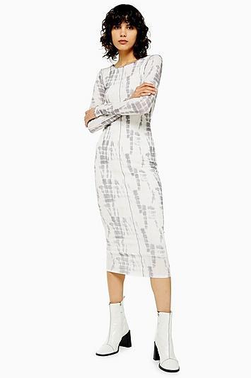 Topshop Batik Printed Mesh Dress