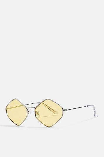 Topshop Metal Hexagon Yellow Sunglasses