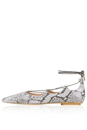 Topshop Kingdom Snake-effect Ghillie Pointed Flats