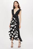 Topshop Petite Black Spot Pinafore Dress