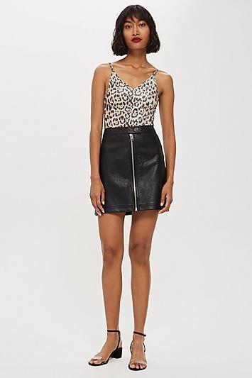 Topshop Leather Look Mini Skirt