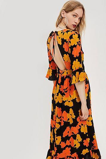 Topshop Bold Floral Print Midi Dress