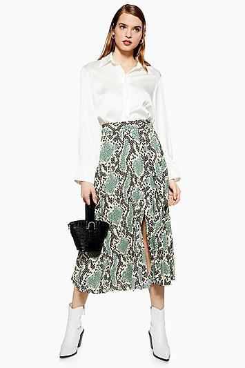 Topshop Python Pleated Midi Skirt