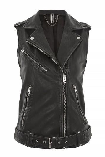 Topshop Sleeveless Leather Biker Jacket