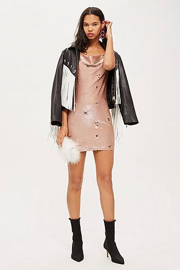 Topshop Tall Embroidered Bronze Cowl Bodycon Dress