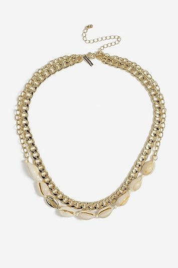 Topshop *shell And Chain Multirow Necklace