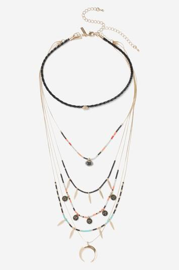 Topshop Bead And Shell Multirow Choker Necklace