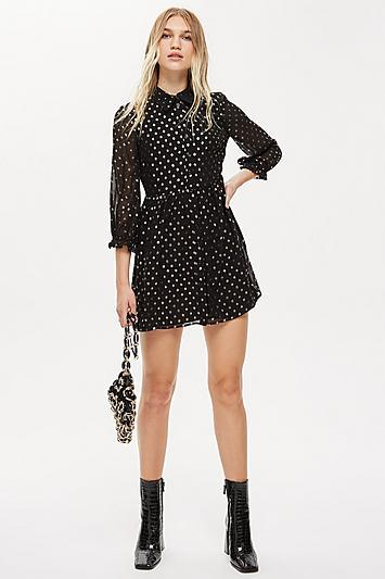 Topshop Polka Dot Shirt Dress